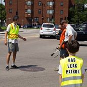 BU scientist Nathan Phillips and his son Julian measuring gas leaks in Dorchester.
